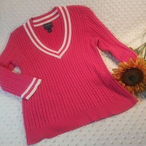 Chaps Hot Pink V Neck Sweater